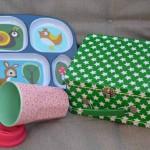 Mitbringsel von rice (rosa Becher), Smallstuff (Sternekoffer) und Sebra (Tablett)
